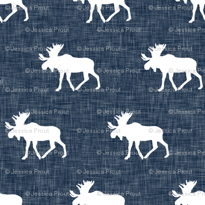 moose on navy linen (small scale)