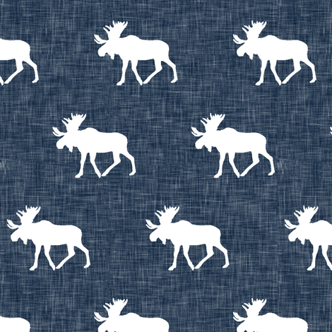 moose on navy linen (small scale) fabric by littlearrowdesign on Spoonflower - custom fabric