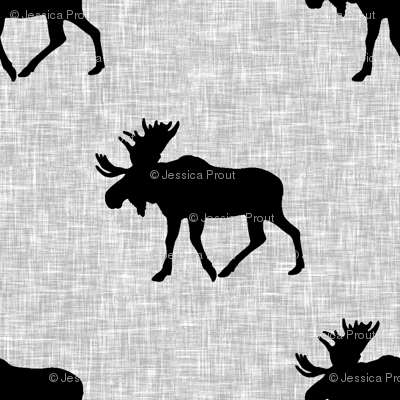 black moose on light grey linen (large scale)