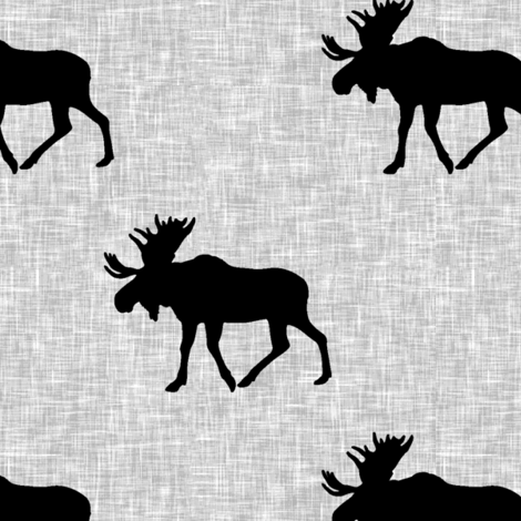 black moose on light grey linen (large scale) fabric by littlearrowdesign on Spoonflower - custom fabric