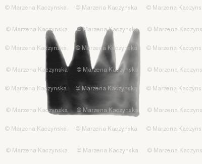 Watercolor crowns - monochrome black and white watercolor