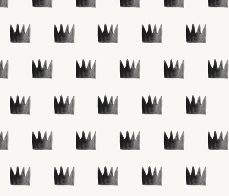 Watercolor crowns - monochrome black and white watercolor fabric by sunny_afternoon on Spoonflower - custom fabric