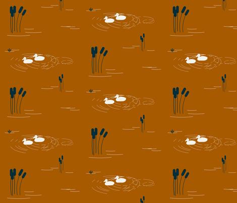 Lake pond ducks - rusty orange indigo || by sunny afternoon fabric by sunny_afternoon on Spoonflower - custom fabric