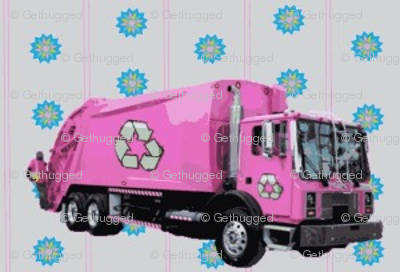 Pink Trash Garbage Truck Light Blue Stripe-ed-ed