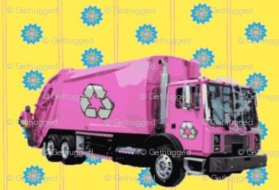 Pink Trash Garbage Trucks Yellow Stripe-ed-ed