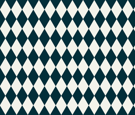 Harlequin diamonds - navy and ivory pierrot squares geometric indigo || by sunny aftrnoon fabric by sunny_afternoon on Spoonflower - custom fabric