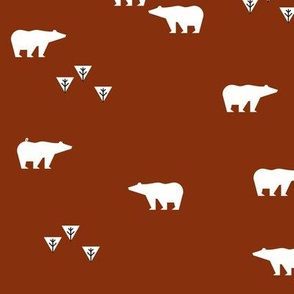 Polar bears - rusty red, woodland forest || by sunny afternoon