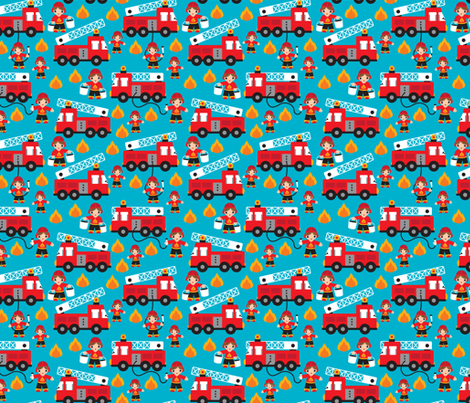 Fire to the rescue fire fighters fire truck and hero boys car fabric XS fabric by littlesmilemakers on Spoonflower - custom fabric
