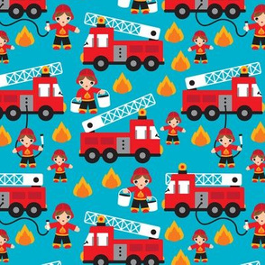 Fire to the rescue fire fighters fire truck and hero boys car fabric XS
