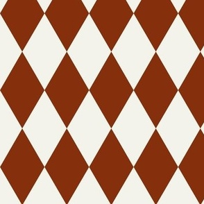 harlequin diamonds - potters clay earth dark red rusty and ivory geometric pierrot || by sunny afternoon