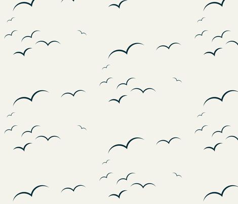 Birds - navy on Ivory || by sunny afternoon fabric by sunny_afternoon on Spoonflower - custom fabric