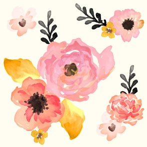 Floral Dreams in Pink Yellow Black & Coral LARGE PRINT