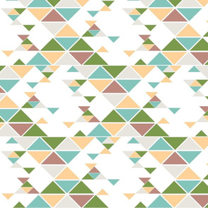 Triangles of different sizes in a x shape pattern with green, rose, and tangerine