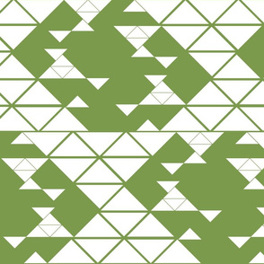 Triangles of different sizes in a x shape pattern with dark green background