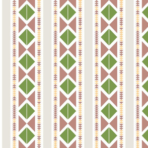 Tribal striped pattern with small and large triangles in rose and green