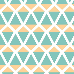 Kites in a geometric pattern in tangerine and turquoise