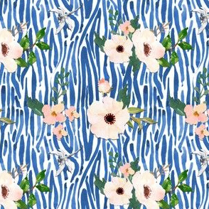 White Floral Shibori - Blue