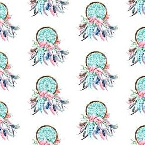 "2"" Pink & Aqua Dream Catcher"