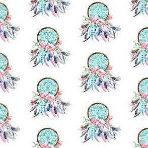 "2"" Pink & Aqua Dream Catcher"