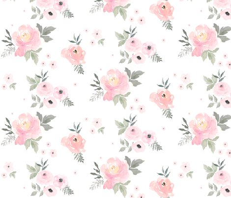 8 sweet blush roses fabric shopcabin spoonflower. Black Bedroom Furniture Sets. Home Design Ideas