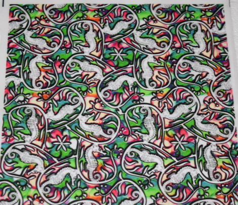 Seahorse Promenade White Green and Pink