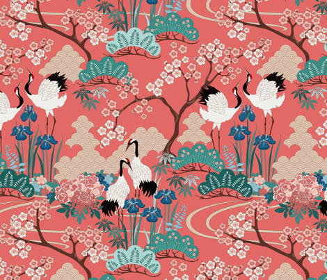 gueth_japanese_garden_redyellow fabric by juditgueth on Spoonflower - custom fabric