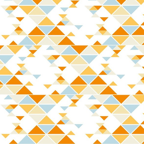 Triangles of different sizes in a x shape pattern with orange and blue tones