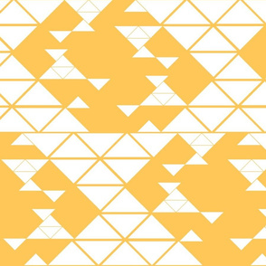 Triangles of different sizes in a x shape pattern with tangerine background