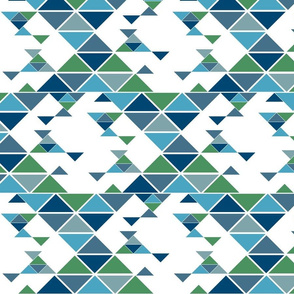 Triangles of different sizes in a x shape pattern with blue earth tones