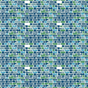 Brick offset pattern in blue earth tones