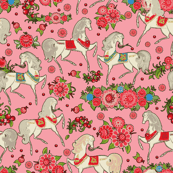 White Russian Horses on pink