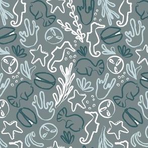 Sea Creatures in grey