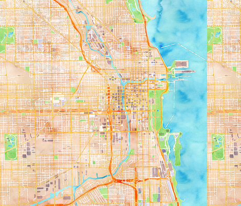 chicago watercolor map design fabric by cityette on Spoonflower - custom fabric