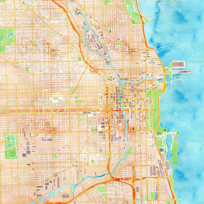 chicago watercolor map design