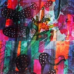 Vibrant Bird and Botanical Pattern