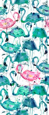 flamingos making a splash in teal!
