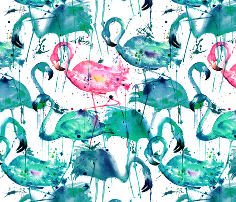 flamingos making a splash in teal! fabric by karismithdesigns on Spoonflower - custom fabric