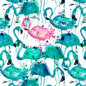 flamingos making a splash in teal!
