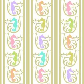 Seahorse Stripe Pastel on Taupe