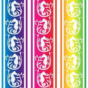 Seahorse Stripe White on Rainbow