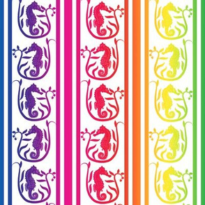 Seahorse Stripe Rainbow on White