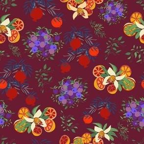Fruit Crazy Orange Blossoms -on Deep Red, Medium version