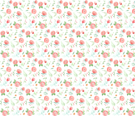 Peach Happy Floral fabric by pacemadedesigns on Spoonflower - custom fabric
