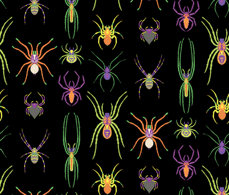 pop art spiders for halloween fabric by pinkowlet on Spoonflower - custom fabric