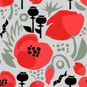 Modern Poppies-grey