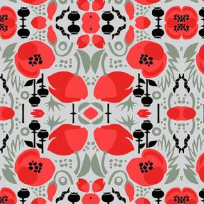 Modern Poppies-grey