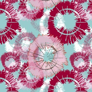 Flower circles - red/blue/pink
