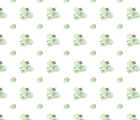 blueberries and bumble bees II  fabric by ebright on Spoonflower - custom fabric