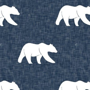 bear on navy linen (large scale)