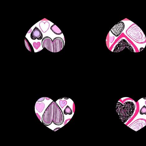 Hearts on Black fabric by robin_rice on Spoonflower - custom fabric
